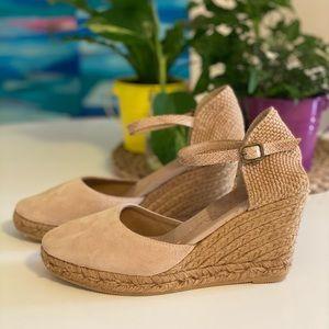 Gaimo Espadrille wedge heels nude tan suede Size 8